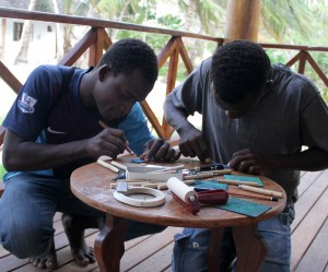 young men of Matemwe lino cutting